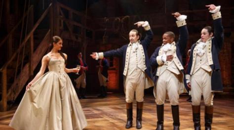 Carleigh Bettioand (from left) Lin-Manuel Miranda, Leslie Odom Jr. and Anthony Ramos in Hamilton (PHOTO: Joan Marcus)