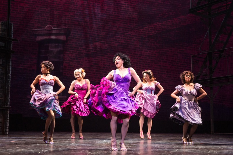 """From left, Ilda Mason (Estella), Lauren Csete (Consuelo), Natalie Cortez (Anita), Lisa Finegold (Francisca) and Alexia Sky (Teresita) in """"West Side Story"""" at Paper Mill Playhouse. Photo by Matthew Murphy."""