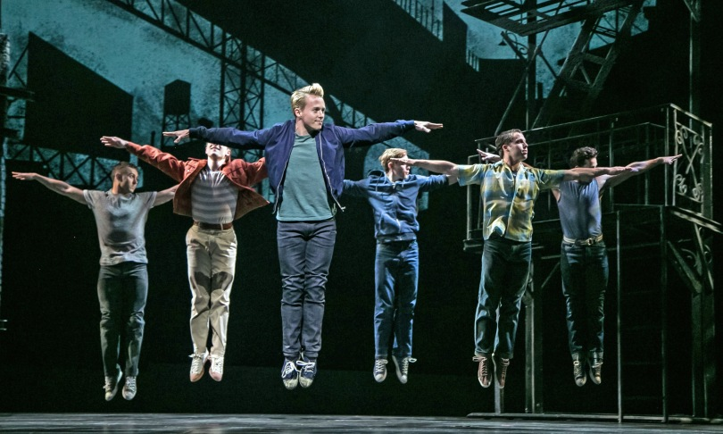"Mikey Winslow (Riff), center, and the Jets in ""West Side Story"" at Paper Mill Playhouse. Photo by Jerry Dalia"