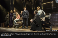 "Jamie Parker as Harry Potter, centre, speaking to Sam Clemmett as Albus in ""Harry Potter and the Cursed Child."" Photo"" Manuel Harlan"