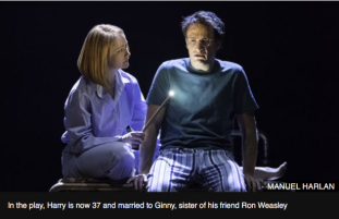 In the play, Harry is now 37 and married to Ginny, sister of his friend Ron Weasley.