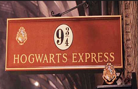 Platform 9 3/4 in London is the point pf departure for students to Hogwarts School of Witchcraft and Wizardry