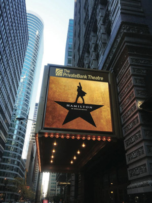 """""""Hamilton"""" marquee at the PrivateBank Theater in Chicago."""