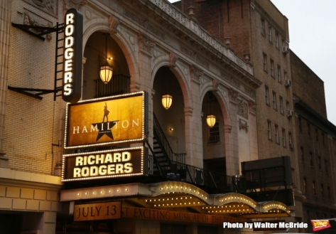"""Hamilton"" marquee at the Richard Rodgers Theatre on Broadway."