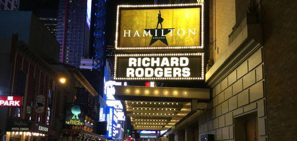 """""""Hamilton"""" marquee at the Richard Rodgers Theatre on Broadway."""