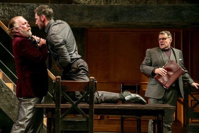 """From left, Ames Adamson as Lord Hastings, Derek Wilson at Richard III, and Chris Hietikko as Lord Stanley in """"Richard III"""" by William Shakespeare. at The Shakespeare Theatre of New Jersey. Directed by Paul Mullins. (Photo: Jerry Dalia)"""