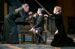 """From left, Carol Halstead as Queen Margaret, widow of King Henry VI; Ellen Fiske as the Duchess of York, mother of Richard, Edward and Clarence, and Gretchen Hall as Queen Elizabeth in the Shakespeare Theatre of New Jersey's """"Richard III."""" (Photo: Jerry Dalia) Directed by Paul Mullins."""