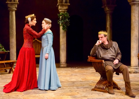 "Dee Hoty (Eleanor of Aquitaine), Madeleine Rogers (Alais) and Michael Cumpsty (Henry II) in ""The Lion in Winter"" at Two River Theater. (PHOTO: T Charles Erickson Photography)"