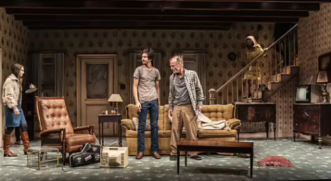 "Downstage, Taissa Farmiga, Nat Wolff and Ed Harris in ""Buried Child."" (PHOTO: Monique Carboni)"