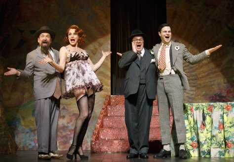 "Lewis J. Stadlen as Efram, Cady Huffman as Sylvie, Nathan Lane as Chauncey Miles and Jonny Orsini as Ned in ""The Nance."" (PHOTO: Joan Marcus)"