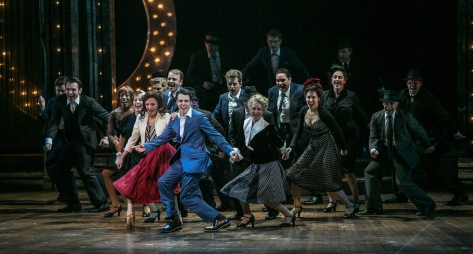 "Laura Osnes and Corey Cott (center) in the Paper Mill Playhouse production of ""The Bandstand,"" which begins Broadway previews on March 21. (PHOTO: Jerry Dalia)"