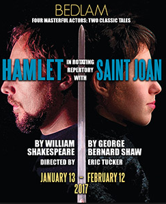 "Poster for joint productions of ""Hamlet"" and ""St. Joan."" (PHOTO: bedlam.com)"