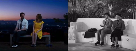 Side by side image of a scene from La La Land and  Shall We Dance
