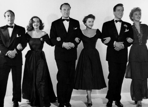 "The principal cast of ""All About Eve"", from left Gary Merrill, Bette Davis, George Sanders, Anne Baxter, Hugh Marlowe and Celeste Holm. (PHOTO: Wikipedia)"