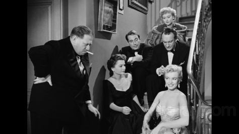 "Still photo from ""All About Eve"" includes (clockwise from lower right) Marilyn Monroe, Anne Baxter, Gregory RatoffGary Merrill, Celeste Holm and George Sanders."