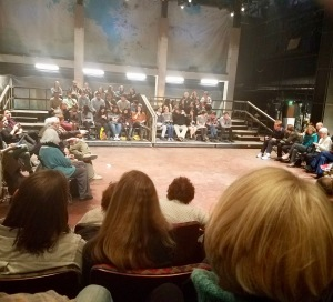 "Third act seating for Bedlam's ""Hamlet"" at McCarter Theatre, Princeton. (PHOTO: Gretchen Van Benthuysen)"