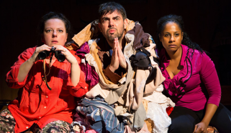 "Zuzanna Szadkowski, Jason O'Connell and Nicole Lewis in ""The Merry Wives of Windsor"" at the Two River Theater in Red Bank. (PHOTO: T. Charles Erickson)"