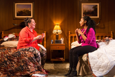 Zuzanna Szadkowski as Mistress Page (left) and Nicole Lewis as Mistress Ford, two women determined to make sure Falstaff regrets messing with them. (PHOTO: T. Charles Erickson)