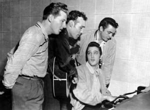 UPI photographer took this photo at Sun Studios that fateful night that (from left)  Jerry Lee Lewis, Carl Perkins, Elvis Presley and Johnny Cash sang together.