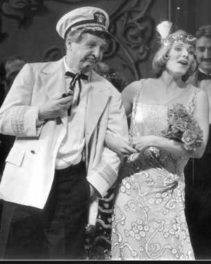 "Eddie Bracken as Cap'n Andy Hawks and Rebecca Baxter as Magnolia in the Paper Mill Playhouse production of ""Show Boat."" It was featured on PBS' ""Great Performances"" series in 1989."