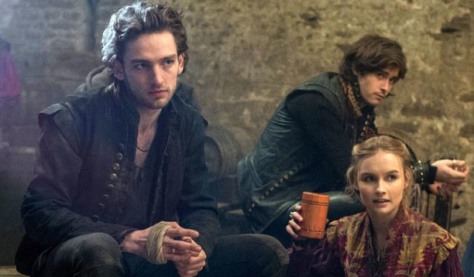 "Laurie Davidson, left, as William Shakespeare, with Mattias Inwood as the actor Richard Burbage and Olivia DeJonge as Alice Burbage in TNT's ""Will."" (PHOTO: Alex Bailey/TNT)"