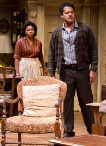 "Crystal A. Dickinson (Ruth Younger) and Brandon J. Dirden (Walter Lee Younger) in in ""A Raisin in the Sun"" at Two River Theater in Red Bank. The couple, regulars here, also are married in real life. (PHOTO: T Charles Erickson) Set Design: Christopher and Justin Swader Lighting Design: Kathy A. Perkins Costume Design: Clivia Bovenzi Wig Design: Valerie Gladstone"