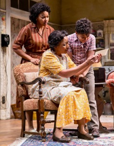 """A Raisin In The Sun"" features Crystal A. Dickinson (Ruth Younger), Brenda Pressley (Lena Younger) and Owen Tabaka as Travis Younger). (PHOTO: T Charles Erickson)"