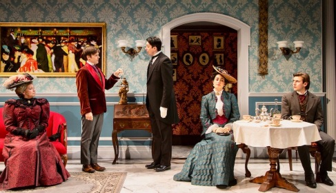 """The Importance of Being Earnest"" by Oscar Wilde at the Two River Theater in Red Bank features, from left, Randy Danson (Lady Bracknell), Sam Lilja (Algernon Moncrieff), Henry Vick (Lane), Rosa Gilmore (Gwendolen Fairfax) and Federico Rodriguez (John Worthing). (PHOTO: T Charles Erickson)"