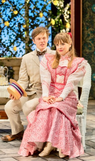 """The Importance of Being Earnest"" directed by Michael Cumpsty at the Two River Theatre Company features Sam Lilja as Algernon Moncrieff and Liesel Allen Yeager as Cecily Cardew. (PHOTO: T Charles Erickson)"