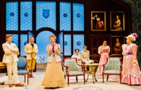"""The Importance of Being Earnest"" at Two River Theater features (center) Mahira Kakkar as Miss Prism, with (from left) Federico Rodriguez as John Worthing, Chris Kipiniak as the Rev. Canon Chasuble, Rosa Gilmore as Gwendolen Fairfax, Sam Lilja as Algernon Moncrieff, Liesel Allen Yeager as Cecily Cardew and Randy Danson as Lady Bracknell. (PHOTO: T Charles Erickson)"