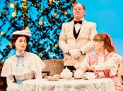 """The Importance of Being Earnest"" by Oscar Wilde, directed by Michael Cumpsty features (from left) Rosa Gilmore as Gwendolen Fairfax, Bob Mackasek as Merriman and Liesel Allen Yeager as Cecily Cardew at the Two River Theater in Red Bank. (PHOTO: T Charles Erickson)"
