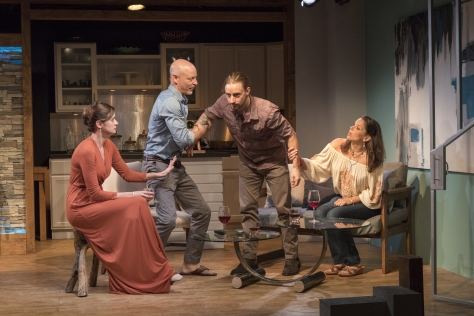 "From left, Lauren Casillo, Jim Macdonald, Joseph Carlson and Vivia Font in the East Coast premiere of Karen Rizzo's ""Mutual Philanthropy."" (PHOTO: Andrea Phox)"