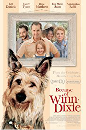 "Movie poster art for ""Because of Winn-Dixie,"" a 2005 film about a mischievous dog that befriends a lonely young girl in a new town and helps her make new friends."