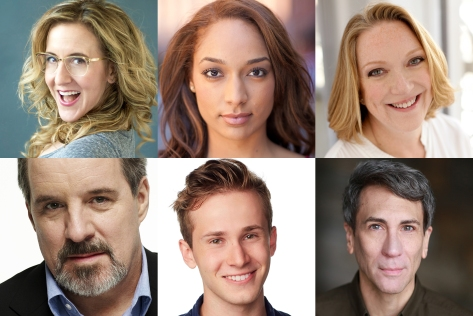 The Cast: (clockwise from top left) Jenn Harris, Rachel Nicks, Kristine Nielsen, Robert Sella, Nicholas Podany, and John Pankow.
