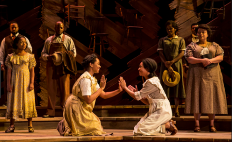 "Adrianna Hicks (Celie), N'Jameh Camara (Nettie) and the North American tour cast of ""The Color Purple."" (PHOTO: Matthew Murphy)"