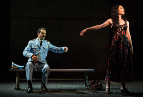 "Tony Shalhoub as Tewfiq and Katrina Lenk as Dina in ""The Band's Visit."" (PHOTO: Matthew Murphy)"