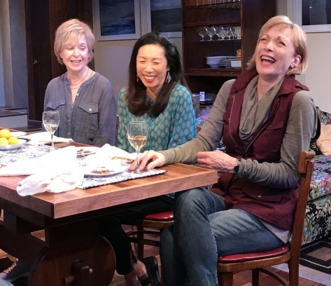 rom left, Jill Eikenberry, Jodi Long and Dee Hoty, the women/wifes in tghe workd premiere of Michael Tucker's play about aging at the New Jersey Repertory Company in Long Branch. (PHOTO: SuzAnne Barabas)