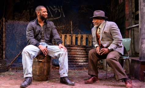 "Blake Morris (King Hedley II) and Harvy Blanks (Elmore) in August Wilson's ""King Hedley II"" at Two River Theater Company directed by Brandon J. Dirden. (PHOTO: T Charles Erickson)"