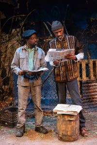 "Mister (Charlie Hudson III) and Stool Pigeon (Brian D. Coats) in August Wilson's ""King Hedley II"" directed by Brandon J. Dirden at Two River Theater Company. (PHOTO: T Charles Erickson)"