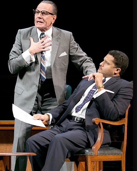 "Bryan Cranston as President Lyndon B. Johnson and Brandon J. Dirden as Martin Luther King Jr. in ""All The Way"" on Broadway. (PHOTO: Evgenia Eliseeva)"