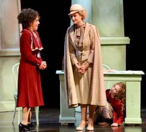 Andrea McArdle (from left) as Miss Hannigan, Kate Marshall as Grace and Echo Devo Picone as Annie. (PHOTO: Rick Kowalski)