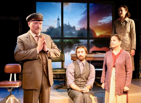 "From left, Steve Brady, Benjamin Satchel, Andrea Gallo and Amie Bermowitz in D.W. Gregory's ""Memoirs of a Forgotten Man"" playing at NJ Rep, 179 Broadway, Long Branch, August 15 thru September 15. (PHOTO: Andrea Phox)"