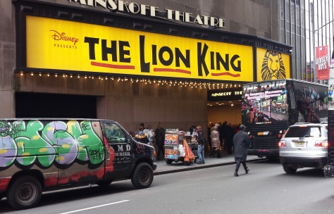 Lion King marquee on 45th Street side of the Minskoff Theatr